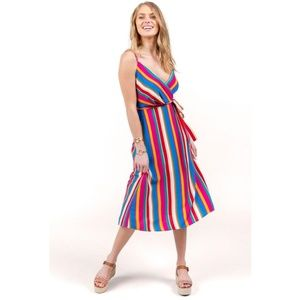 RAQUEL STRIPED MIDI DRESS